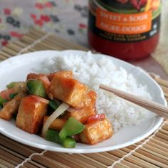 Delicious tofu stir fried with sweet and sour sauce ready within minutes