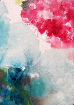 Abstract ACEO Original Painting  Flower Symphony by LemachiDesigns, $8.00