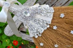 Diamante wedding broom  made to order wedding jumping by Noaki, $98.00