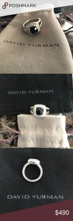 Petite Albion Ring with black Onyx and Diamonds! Great condition! Sterling silver David Yurman Jewelry Rings