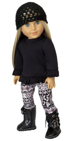 Silly Monkey - Black Cap, Black Top, and Leggings, $22.00 (http://www.silly-monkey.com/products/black-cap-black-top-and-leggings.html). American Girl doll clothes.