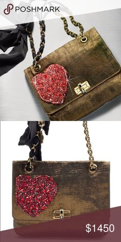 LANVIN Medium Happy Bag ($2,300) – Limited Edition The Medium Happy bag in gold lam fabric with strass heart embroidered on the flap from the Capsule collection for Alber's 10 year anniversary. Other pictures/Details coming soon. Lanvin Bags