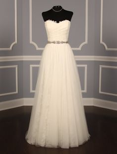 New, Authentic Christos Eliza wedding dress at up to off retail. The French Alencon Lace is incredible & the beadwork around the waist Wedding Dress Chiffon, Gorgeous Wedding Dress, New Wedding Dresses, Prom Dresses, Formal Dresses, Wedding Stuff, Dream Wedding, Wedding Ideas, Haute Couture Dresses