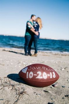 22 Cute Engagement Announcement Ideas You'll Want to Copy - Trust us—you won't want to spill the beans until you've seen these cute and creative engagement announcement ideas. beach football save the date cute outdoor kiss {Ella Grace Photography} Creative Engagement Announcement, Engagement Session, Engagement Photos, Real Couples, Mini Sessions, Football, Beach, Trust, Kiss