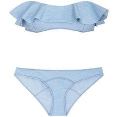 Womens Bikinis Lisa Marie Fernandez Natalie Ruffled Denim-effect... ($445) ❤ liked on Polyvore featuring swimwear, bikinis, swimsuits tops, bikini top, flounce bikini top, flounce bikini and light blue bikini top