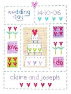 """Wedding Sampler (CSKWS24) Contemporary wedding cross stitch kit designed by The Stitching Shed. Contents: 14 count aida fabric, anchor threads, needle, chart and full instructions. (sampler kits also include relevant alphabet and number charts). Size: 7"""" x 9"""". RRP £16.50 *Usually dispatched within 5 working days* See our full range of Cross Stitch Sampler Kits"""