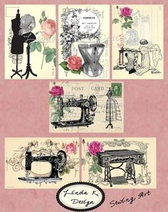Digital Scrapbooking-Collage Sheet-Digital Card-Digital Image.....Collage Sheet Sewing Art