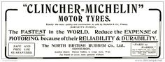 Original - Anzeige / Advertise 1903 : (ENGLISH) CLINCHER - MICHELIN MOTOR - TYRES  -  255 x 90 mm