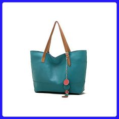 Retro Fashion Women's Tote PU Leather Shoulder Bag Handbag Shopper (Lake blue) - Shoulder bags (*Amazon Partner-Link)