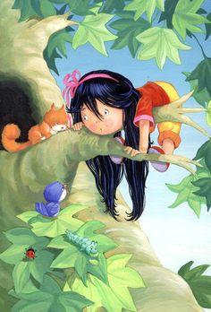 illustrations by quenalbertini - Stuck Up a Tree, Gill Guile illust. - via childrensillustrators...