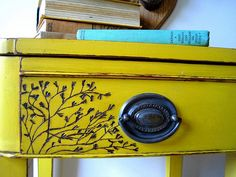 Burn a design into wood. #furniture, #paint, #colour, #yellow, #ideas... We have to do this to our furniture we get from antique shops to spruce them up and make them even more awesome! :)
