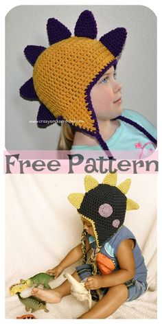 Crochet Dinosaur Spike Hat - Free Pattern This Crochet Dinosaur Spike Hat will be a great project to make, and a child would look really cute in it! Crochet Dinosaur Hat, Crochet Dinosaur Patterns, Crochet Patterns, Crochet Ideas, Crochet Projects, Crochet Wool, Baby Afghan Crochet, Crochet Beanie, Irish Crochet