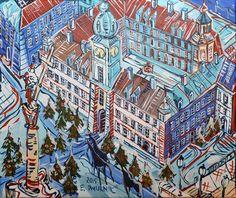 """ArtGalery ° PERSONALART.PL tytuł: """"Plac Zamkowy"""" autor: Edward Dwurnik…"""