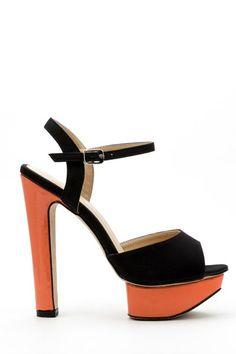 Contrast Platform Sandal Heels