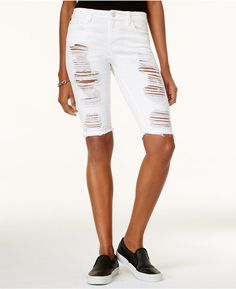 GUESS Solange Ripped Denim Bermuda Shorts