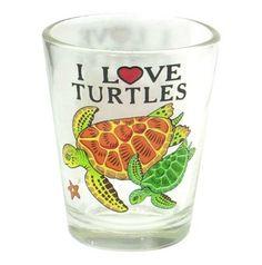 """I Love Turtles"" Sea Turtle Shot Glass"