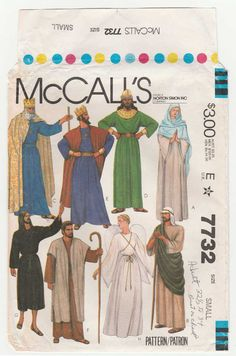 """McCall's 7732 Women's or Men's Bible Costumes, Pattern makes robes, gowns, crown and wings. Costumes for a Passion Play, Adult Nativity, Christmas Pageant. Costumes include :Shepherd, Jesus, Wiseman, Joseph, Mary, King and an Angel Adult Size: Small Bust/Chest: 32 1/2"""" - 34"""""""