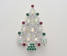 Image detail for -Christmas Tree Pin with Swarovski Aurora Borealis Crystals
