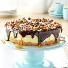 Simple Turtle Cheesecake, I would use homemade cheesecake instead of frozen