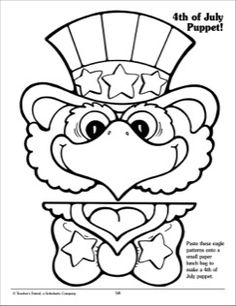 Your students can paste these eagle patterns onto a small paper lunch bag to make a Fourth of July puppet. Toddler Crafts, Preschool Crafts, Preschool Christmas, Christmas Crafts, Fourth Of July Crafts For Kids, Paper Bag Crafts, Paper Bag Puppets, Puppets For Kids, Puppet Crafts