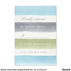 Rustic watercolor stripes beach wedding RSVP