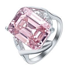 Women Chic 925 Sterling Silver Pink Sapphire Engagement Ring Proposal  Jewelry  Handmade  Cocktail Pink cd8701c0e2b2