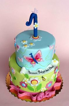 Flowers and butterflies cake by bubolinkata, via Flickr