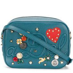 Dolce & Gabbana small Glam cross-body bag (€1.340) via Polyvore featuring bags, handbags, shoulder bags, blue, blue shoulder bag, leather shoulder handbags, leather crossbody, blue leather purse und leather cross body handbags