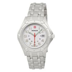 Wenger Men's 73119 Standard Issue XL White Dial Steel Bracelet Watch Wenger. $119.00. Water-resistant to 330 feet (100 M). Three year warranty. From the makers of the legendary Swiss army knife. Full sweep second hand. Comes with a metal presentation case