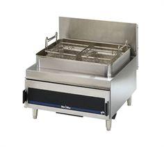 Star-Max® STAR Fryer, Counter Unit, Gas, Full Pot, twin baskets, 30 lb. fat capacity, adjustable heat controls, under fired, 70,000 BTU
