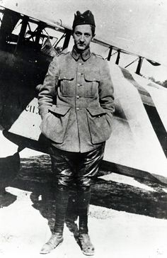 "Guynemer in mid-September 1916, posing in front of the first of his SPAD VII, registered S 115 ""Old Charles VI."" A device he used in combat for the first time August 27, 1916 and which was destroyed less than a month later on September 23, hit by a shell of the French air defense. (Photo: Museum collection BA 102)"
