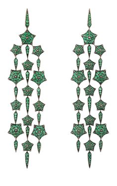 Stargazer Cascade earrings in gold and emeralds from Stephen Webster #baselworld2014 #stephenwebster