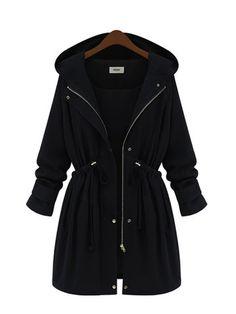 Plus Size Zipper Adjustable Waistband Hooded Jacket