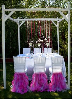 Wedding table and chair cover decoration idea by FloraRosa Design