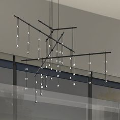 The Sonneman Suspenders Tri-Bar Multi Light Pendant is a dazzling contemporary lamp that features 3 horizontal metal bars, and a series of suspended LED lights. Lighting System, Home Lighting, Modern Lighting, Lighting Design, Lighting Showroom, Multi Light Pendant, Pendant Light Fixtures, Pendant Lighting, Pendant Lamp