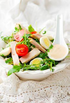 Salad with baked ham - Salad with baked ham and mayonnaise sauce. Ham Salad, Baked Ham, Mayonnaise, Fresh Rolls, Food Network Recipes, Salads, Favorite Recipes, Ethnic Recipes, Egg