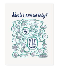 """Fortunately/unfortunately this flowchart does generally point to, yes, you probably should work out (unless you're the president). - 8x10""""/11x14"""" art print - Blue and green (or black) ink on white pap"""