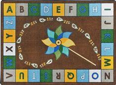 Alphabet Pinwheel Rug Earthtone - JC1625ETXX - Joy Carpets