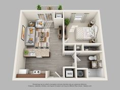 Harbor Woods Living at Brunswick floorplan 1 Small Apartment Plans, Studio Apartment Floor Plans, Small Apartment Design, Apartment Layout, Apartment Interior, Small Apartments, House Layout Plans, Small House Plans, House Layouts