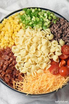 Bacon ground beef cheese and hot sauce make this Cowboy Pasta Salad a definite crowd pleaser! Perfect for summer get togethers. Bacon ground beef cheese and hot sauce make this Cowboy Pasta Salad a definite crowd pleaser! Perfect for summer get togethers. Cowboy Salad, Cowboy Food, Pasta Salat, Clean Eating, Healthy Eating, Cooking Recipes, Healthy Recipes, Meal Recipes, Noodle Recipes