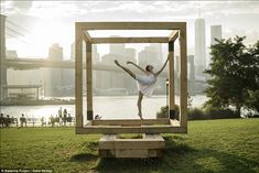 Stephanie Williams: A cubic sculpture makes the perfect frame for the dancer's elegant pose in Brooklyn Bridge Park with the bridge and city...