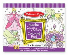 """Jumbo Coloring Pad Princess & Fairy by Melissa Educational Products. $11.34. Melissa & Doug - Jumbo Coloring Pad Princess & FairyYou and your young artist will enter a world of magical beauty on the pages of this fantastic coloring pad. Fifty pages of premium bond paper are full of fairies and princesses awaiting your colorful touch and fabulous sense of design. The pages tear out cleanly for display or gift giving!Dimensions: 11"""" x 14"""" x 0.63"""" PackagedManufactured by .: Melissa..."""