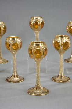Set of 12 19th C. Moser Gold Goblets   Elise Abrams Antiques