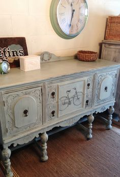 Repurposed Gems: Vintage Bicycle Buffet - $500 Light blue milk painted buffet graphics fairy