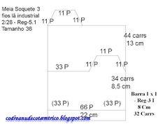 Confecção Em Lã Industrial 2/28 e Lã Grossa - Tricô À Máquina - Tutoriais: 11) Cálculo E Esquema De Meia Soquete na Máquina De Tricô-Tamanhos 38, 37, 36, 35, todos os tamanhos.
