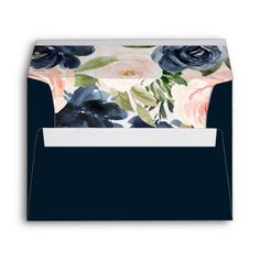 Navy Watercolor Pink Flowers Bridal Wedding envelope See matching invitations and collections in the Niche and Nest Store Suitable for all occasions Color: White. Elegant Wedding Invitations, Wedding Stationery, Custom Invitations, Floral Wedding, Wedding Colors, Navy Flowers, Custom Printed Envelopes, Flower Invitation, Wedding Envelopes
