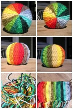 "Rainbow Ball pattern. Perhaps as an ""oops, I left my handwork at home"" communal project."