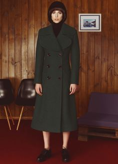 Navy Green Wool Coat | FLOW THE LABEL | NOT JUST A LABEL