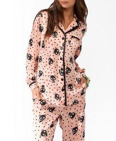 Ex Primark Navy Polka Dot Long Sleeve Boyfriend Pyjama Set 4-22