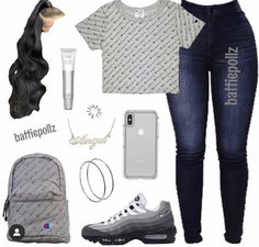 Baddie Outfits Casual, Boujee Outfits, Teen Fashion Outfits, Dope Outfits, Trendy Outfits, School Outfits, Jeans Fashion, Freshman Outfits, Swag Outfits For Girls